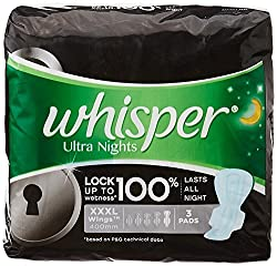 Whisper Ultra Night Extra Heavy Flow Sanitary Pads - Xxxl Wing (3 Pads)