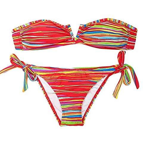 Mme GAOLIXIA Feuille Rayée Multicolore Rayures Bronzantes Ceintures Style V Maillot De Bain Sexy En Bikini 2 Couleurs En
