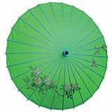 Sonnenschirm 002, Dekoschirm aus Kunstfaser, Wasserfest in grün aus Bambus