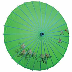 Kinderschirm 022, Sommer-,Dekoschirm aus Kunstfaser, Wasserfest in grün aus Bambus