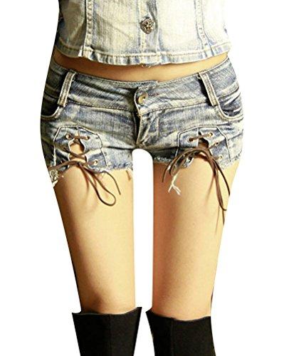 Blansdi Women Jean Denim Junior Trim Nacht Low Waist Hot Cut Off Pants Shorts (Shorts Ausgefranste Cut-off)