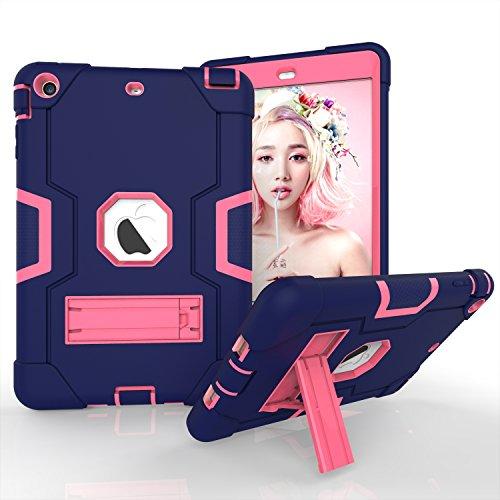 iPad Mini Case, iPad Mini 2Case, iPad Mini 3, beimu 3in1Hybrid, Defender Robuste Hülle Silikon Hard Case Full Body Schutzhülle mit Ständer für Apple iPad Mini 1/2/3 Navy+Rose - Ipad Mini Commuter