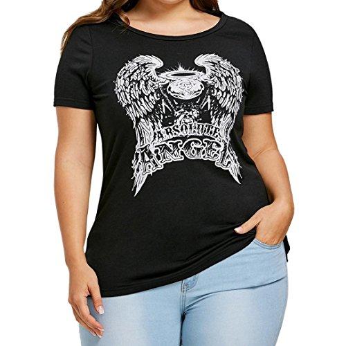 Frauen Casual T-Shirt Absolote Angel Print Plus Size Kurzarm Sweatshirt Pullover Tops Damen Off The Shoulder Strassenbande Shirt O-Ausschnitt Vest Sommer Beiläufiges Bluse Elegant (XL, Schwarz)