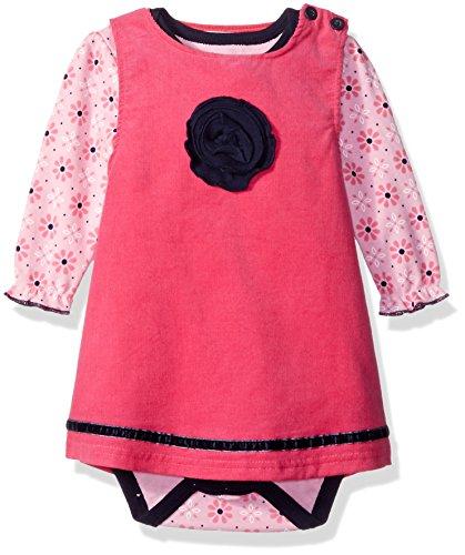 (Bon Bebe Baby Girls' 2 Piece Corduroy Jumper Set With Longsleeve Lap Shoulder Bodysuit, Blue Flower, 6-9 Months)