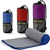 Fit-Flip Grau mit dunkelblauen Rand, 1x 200x100cm | Sporthandtuch groß 100x200 mikrofaser-Handtuch microfaser-Handtuch