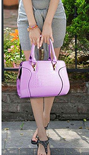 Donne Colore Puro Coccodrillo Modello Pelle Sintetica Borsa a Tracolla Borsetta Pacchetto Diagonale Rose Viola