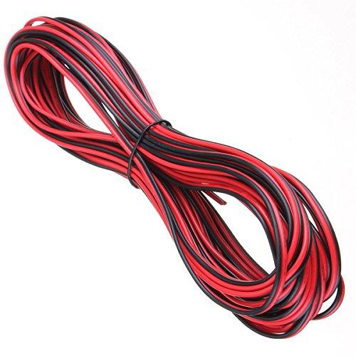 20m 2Core Schwarz Rot 12V 12Volt Verlängerungskabel AMP Auto Auto Van Boot LED Strip Audio Lautsprecher Draht (Lautsprecher-draht-verlängerungskabel)