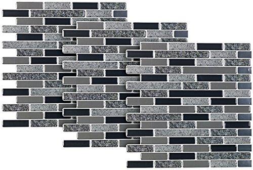 infactory Selbstklebende Fliesen: Selbstklebende 3D-Steinoptik-Fliesenaufkleber, 25,5 x 25,5 cm, 3er-Set (Mosaik-Fliesen-Aufkleber) (Pearl Bad-mosaik)