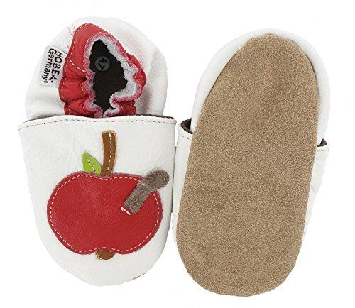 Hobea-Germany - Krabbelschuhe Apfel, Pantofole per bimbi bianco (weiß)