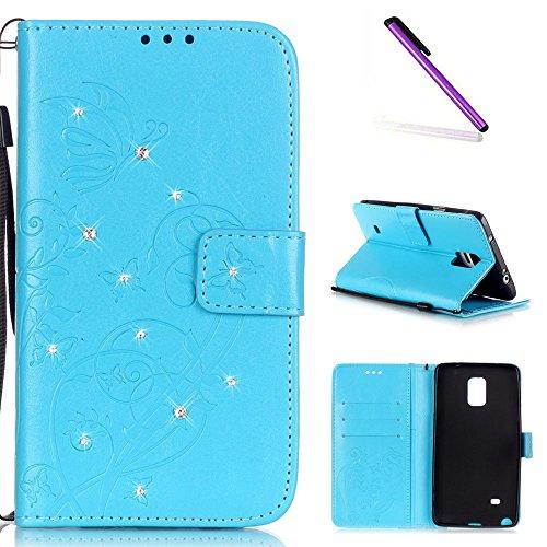 e 4 Case Glitzer Bling Diamant Schmetterling Flip Leather Leder Schutzhülle Ledertasche Lederhülle Handyhülle Hülle für Samsung Galaxy Note 4,Sky Blue Butterfly with Diamond ()