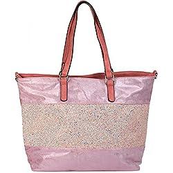 styleBREAKER elegante bolso de hombro/bolso de mano con rayas de lentejuelas y óptica metálica, bolso para compras, bolso, de señora 02012156, Color Rosa antiguo