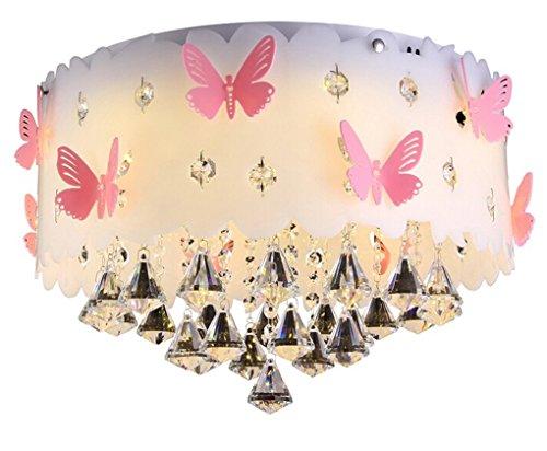 PANNN Schlafzimmerlampe Mädchen Blau Lampe Kinderlampe Schmetterling Modern Deckenlampe Rund Leuchten Jugendzimmer Jungen LED Deckenleuchte Schlafzimmer Dimmbar,50Cm