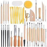 BENECREAT 40PCS Herramientas para esculpir arcilla Conjunto de herramientas de talla de ceramica - Incluye moldeadores de color Clay, herramientas de modelado y cuchillo de escultura de madera para profesionales o principiantes