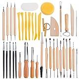 BENECREAT 40PCS Strumenti per scolpire l'argilla Set di strumenti per intaglio di terracotta - Include strumenti per modellare l'argilla, strumenti per modellare e coltello per scultura in legno per professionisti o principianti