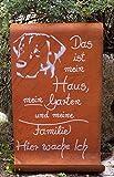 Edelrost Tafel -Das ist Mein Haus - Hunde Gartendekoration Schild Spruch