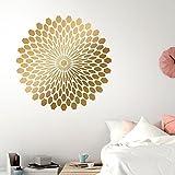 Grandora W5404 Wandtattoo Wandsticker Mandala Retro Kreis Wohnzimmer Flur Schlafzimmer schwarz (BxH) 75 x 75 cm