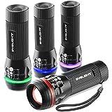 ByBlight Linterna LED Mini Pack de 4,Colored Band,Zoomable,150 lúmenes Linterna pequeña,3 modos para interiores y exteriores (colorido)