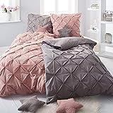 Pureday Bettwäsche Finja - Mit Reißverschluss - 100% Baumwolle - 135 x 200 cm - Altrosa