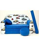 C22 Minicouch Kindersofa Baby Sofa Set Sitzkissen Matratze (C22 blau Formel1)