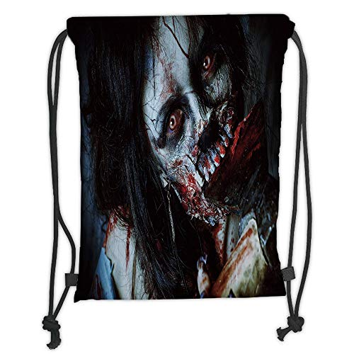 Icndpshorts Zombie Decor,Scary Dead Woman with Bloody Axe Evil Fantasy Gothic Mystery Halloween Picture,Multicolor Soft Satin,5 Liter Capacity,Adjustable String Closu
