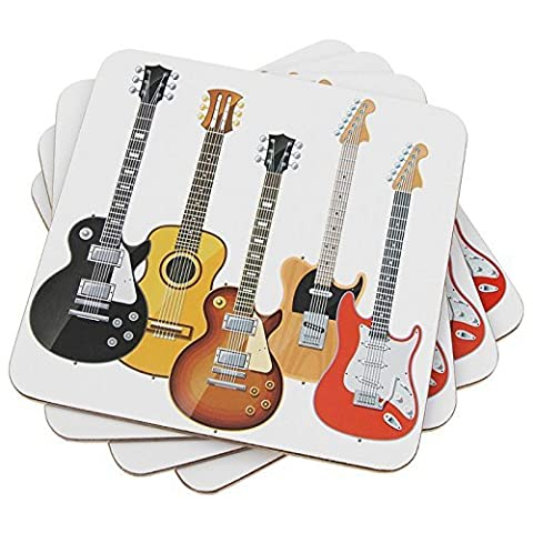 Rock n' Roll Guitars Set of 4 Coasters - Heat Resistant Easy Clean
