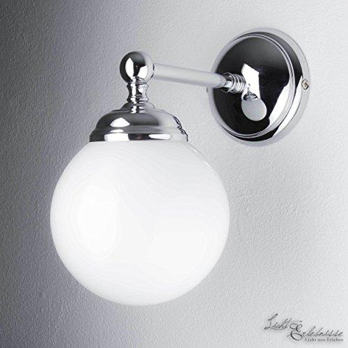 Wandleuchte Weiß Glasschirm Rund Echt-Messing Verchromt Glänzend Handarbeit Exklusiv Wandlampe Flur Schlafzimmer - Runde, Weiße Glasschirm