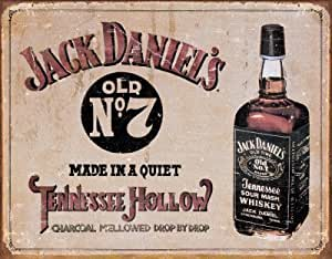 Jack Daniel's Tennessee Hollow Whiskey Distressed Retro Vintage Tin Sign - 32x41 cm