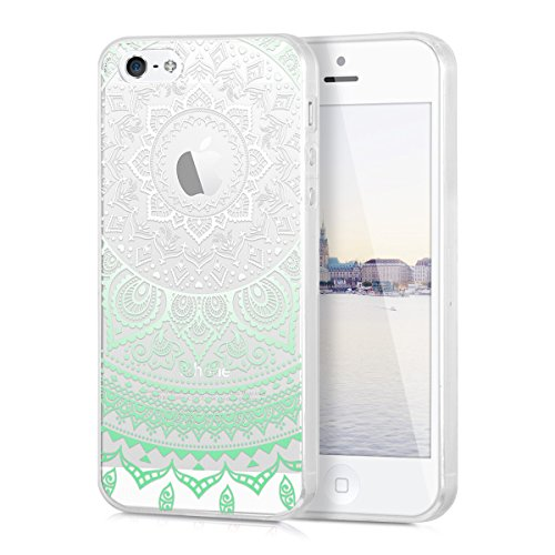 kwmobile Hülle für Apple iPhone SE / 5 / 5S - TPU Silikon Backcover Case Handy Schutzhülle - Cover Metallic Blau Mintgrün Weiß Transparent IDS