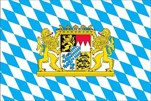 flaggenmeer® Flagge Bayern mit Wappen und Löwen 110 g/m² ca. 100 x 150 cm
