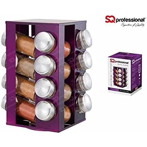 SQ Professional Gems Revolving Metallic Spice Rack with 16 Jars