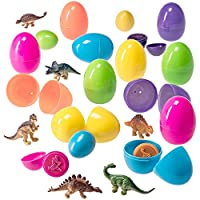 Prextex Easter Eggs Filled with Mini Dinosaurs and Mini Dino Egg Stampers