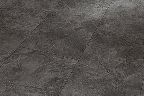 PARADOR Trendtime 5 - Laminatfußbodenbelag Klick Steindekor Laminat Schiefer Achatgrau Steinstruktur 4-seitige V-Fuge, Betonfarben, Fliesenoptik 1473982 Paket a 2,10m²