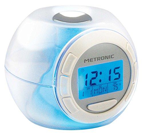 Metronic 477007 Despertador luminoso 7 colores y 6 melodías, transparente