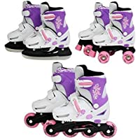 SK8 Zone Girls Pink 3in1 Roller Blades Inline Quad Skates Adjustable Size Childrens Kids Pro Combo Multi Ice Skating Boots Shoes