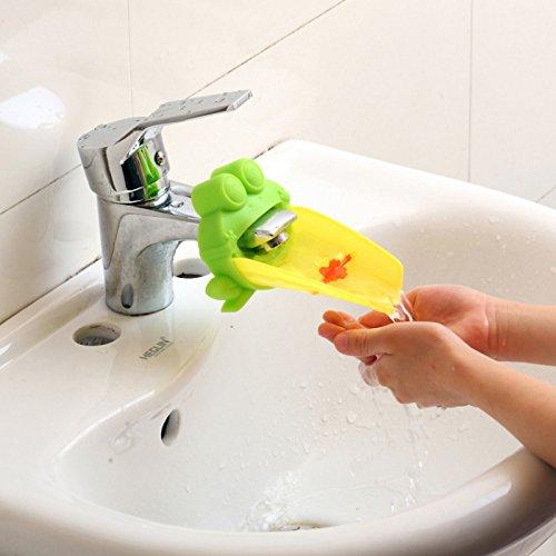 Demiawaking Süß Wasserhahn Verlängerung Extender für Kinder Baby Hände waschen Badezimmer-Cartoon Frosch Design (Grün)