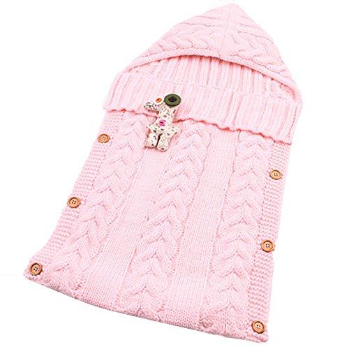 Neugeborenes Baby Kinderwagen Swaddle Decke Button-down Gestrickt Pucktücher Sicherheitsdecken für 0-12 Monat Baby Babydecken Mit Kapuze Kleinkind Wool Pyjamas Schlummersack (Rosa)