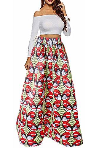 Newistar stampa floreale delle donne ad alta cintura una linea maxi con dimensioni pocket plus(xxl)