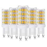 Zikey 4W G9 LED Lampe 400 Lumen, Kein Flackern Warmweiß 3000K G9 LED Leuchtmittel Birne, Ersatz 35W G9 Halogenlampe, AC 85-265V, Nicht Dimmbar, 5er Pack