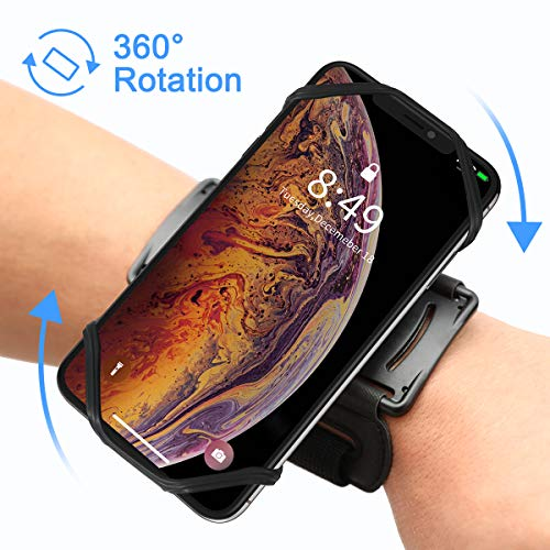 VUP Fascia da Braccio Sportiva Smartphone, Universale Porta Cellulare Armband da Polso con Rotazione di 180 Gradi per Corsa Running Scooter Palestra (Nero)