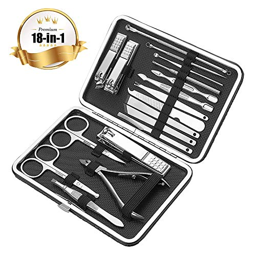 DöerSpäce 18 Piece Stainless Steel Nail Set for Nail Care Pedicure and Manicure with Leather Travel Case Nail Clippers Set, Professional Nail Scissors Grooming Kit Manicure With Portable Travel Case