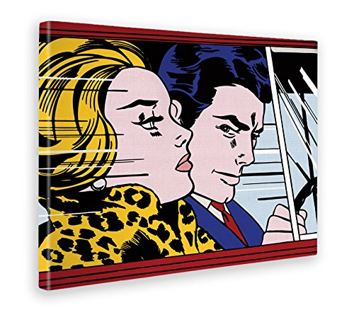 GIALLO BUS - BILD - DRUCK AUF LEINWAND - ROY LICHTENSTEIN - IN THE CAR - 100 x 140 CM