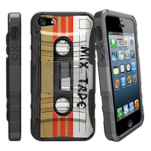 MINITURTLE Fall für iPhone SE, 5S 5SE | iPhone 5/5S/SE Fall [Clip Armor] stoßfest Hybrid Schutzhülle w/Ständer + Bonus Holster Gürtelclip-Rot Schwarz Drachen, Mix Tape Retro