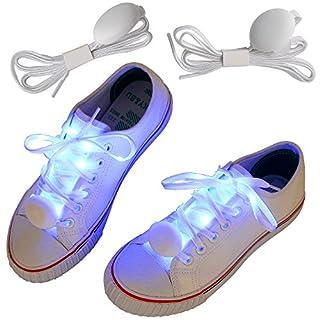 amathings 1 Paar = 2 Stück Weiße Nylon Schnürsenkel In Blau LED Hell Leuchtend 110 CM Lang