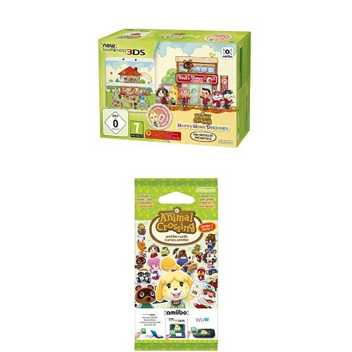 Pack Console New Nintendo 3DS + Animal Crossing : Happy Home Designer préinstallé + Paquet de 3 cartes