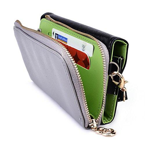 Kroo d'embrayage portefeuille avec dragonne et sangle bandoulière pour Motorola Moto E smartphone Noir/gris Noir/gris