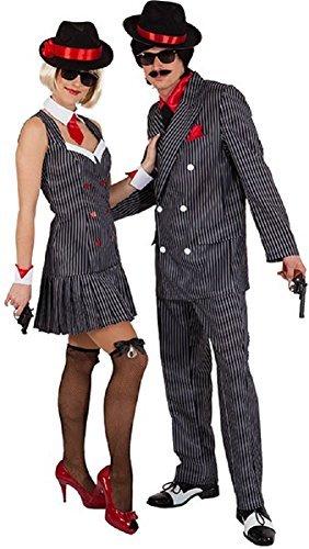 Mob Kostüm Mafia - Paar Damen und Herren 20s 1920s Jahre Gangster Gangsta Mafia Mob Boss TV Buch Film Sopran Kostüm Verkleidung Outfit - Schwarz, UK 16 (Eur 44)- Mens Large (EU50/52)