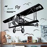 WandSticker4U®- XL Wandtattoo vintage FLUGZEUG schwarz | Wandbilder: 130x93 cm | Wand-aufkleber handgezeichnete Retro Flieger Jet Poster | Deko für Wohnzimmer Schlafzimmer Jugendzimmer Junge Teenager