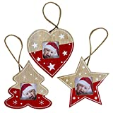 Fansport Albero Natale Ciondolo Appendere Decorazioni Foto Natale Ornamenti Abbellimenti Artigianato Etichetta Hanging Regalo 3pcs Rosso