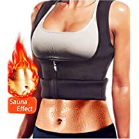 Women Hot Sweat Body Shaper, Neoprene Sauna Sweat Waist Trainer Vest Belly Fat Burner with Zipper for Weight Loss Gym Workout Tank Top Shirt (XS) - Cosmética y perfumes - Comparador de precios