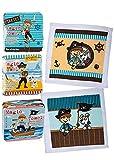 Kamaca 10 er Set (= 10 Stück) Zauberhafte Magische Handtücher Piraten/Pirat / Freibeuter Pirates, je ca. 30 cm x 30 cm mit Wundervollen Motiven - aus 100% Baumwolle